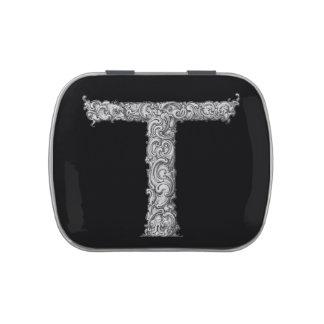 T - El alfabeto de Falck (plateado) Frascos De Caramelos