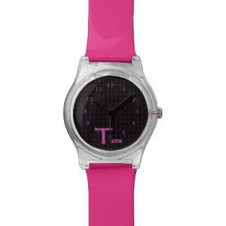 T - El alfabeto de Falck (rosa) Relojes De Pulsera