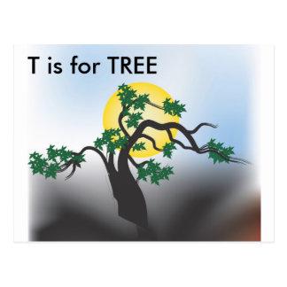 """""""T"""" está para el alfabeto Flashcard del árbol Postales"""