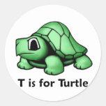 T está para la tortuga etiquetas redondas