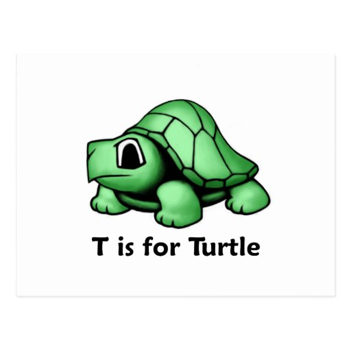 T está para la tortuga tarjetas postales