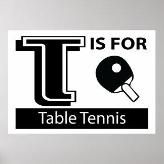 T está para los tenis de mesa poster