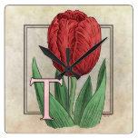 T for Tulips Flower Alphabet Monogram Art Square Wall Clock