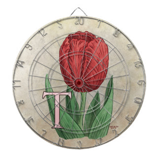 T for Tulips Flower Alphabet Monogram Art Dartboard With Darts