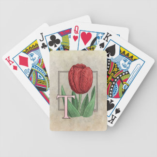 T for Tulips Flower Alphabet Monogram Art Bicycle Playing Cards