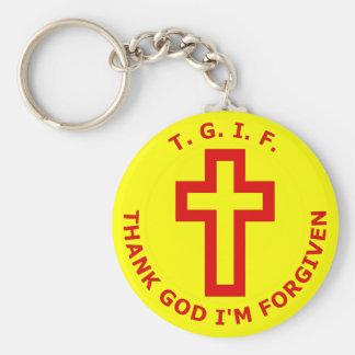 T.G.I.F. Thank God I'm Forgiven Keychain