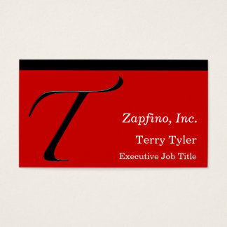 T - Inicial de Zapfino en rojo Tarjetas De Visita