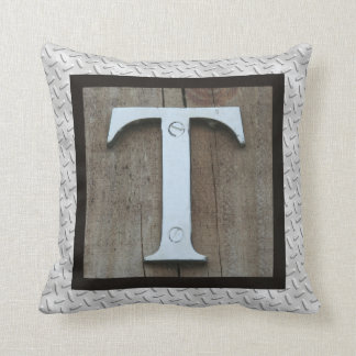 T initial Last First Name Rustic Steel Pillow