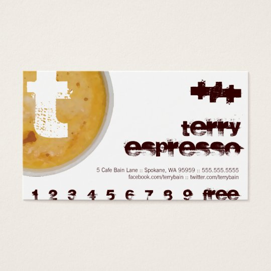 T - Initial Letter Foamy Coffee Cup Loyalty Punch Business Card