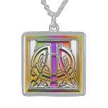 "T Initial Monogram ""Celtic Rainbow"" Necklace Pendant"