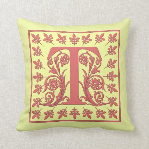 T INITIAL PILLOW - Pink T on YELLOW Background