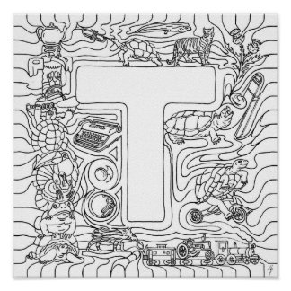 T Is For Turtles Color In Letter Print