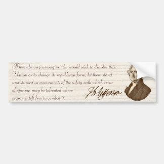 T. Jefferson: Opinion & Reason - Bumper Sticker
