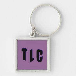 T L C Silver-Colored SQUARE KEYCHAIN
