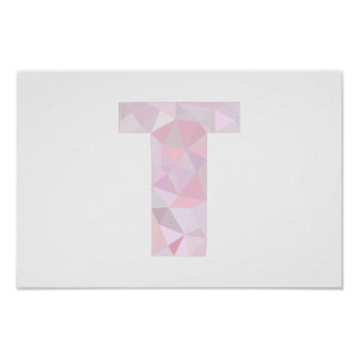 T - Low Poly Triangles - Neutral Pink Purple Gray Poster