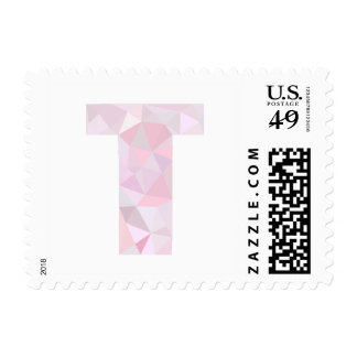 T - Low Poly Triangles - Neutral Pink Purple Gray Stamp