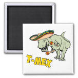 T-Mex T-Rex Mexican Tyrannosaurus Dinosaur 2 Inch Square Magnet