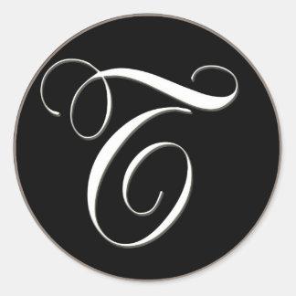 T monogram - elegant black and white classic round sticker