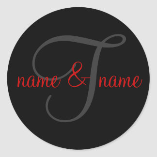 """'T"""" monogram label, personalize first names Classic Round Sticker"""