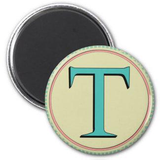 T MONOGRAM LETTER 2 INCH ROUND MAGNET