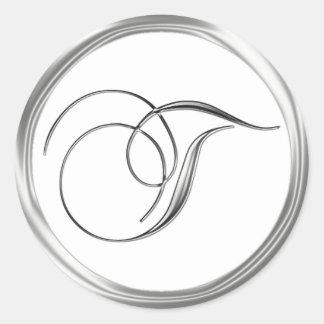 T Monogram Letter Sliver On White Wedding Seal Classic Round Sticker