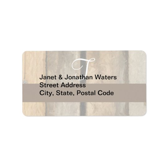 T Monogram on Painterly Wooden Boards (Print) Label