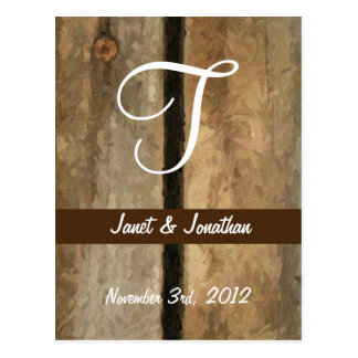 T Monogram on Painterly Wooden Boards (Print) Postcard