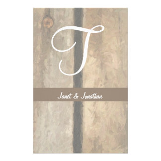 T Monogram on Painterly Wooden Boards (Print) Stationery