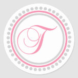 T Monogram (Pink / Silver Dot Circle) Round Sticker
