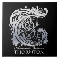 """T Monogram """"Silver Lace on Black"""" with Names Tile"""