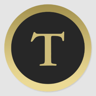 T :: Monogram T Elegant Gold and Black Sticker