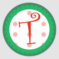 T Monogram (Whimsical Christmas) Classic Round Sticker