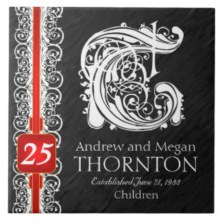 "T Monogram ""White Lace on Black"" Anniversary Tile"
