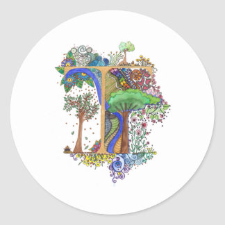T painted classic round sticker