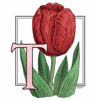 T para el monograma de la flor de los tulipanes fotoescultura vertical