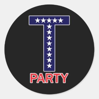 T Party Round Sticker