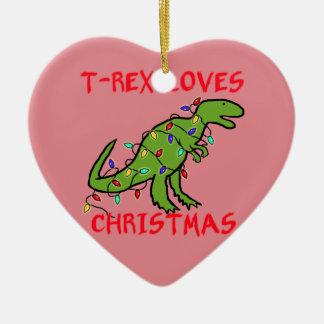 T-Rex ama navidad Adorno Navideño De Cerámica En Forma De Corazón