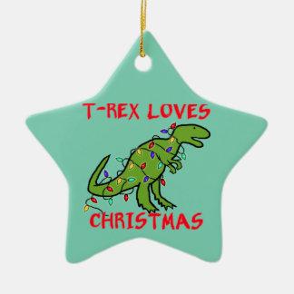 T-Rex ama navidad Adorno Navideño De Cerámica En Forma De Estrella
