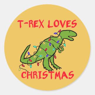 T-Rex ama navidad Pegatina Redonda