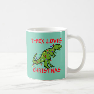 T-Rex ama navidad Taza Clásica