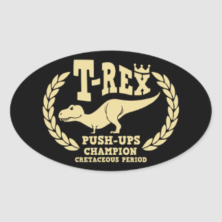 T-Rex ama pectorales Pegatinas Ovaladas