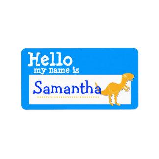 T-Rex anaranjado hola mi nombre es azul de la insi Etiquetas De Dirección