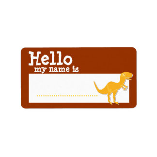 T-Rex anaranjado hola mi nombre es insignia conoci Etiquetas De Dirección