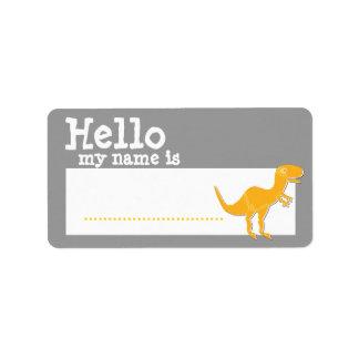 T-Rex anaranjado hola mi nombre es plata de la ins Etiquetas De Dirección
