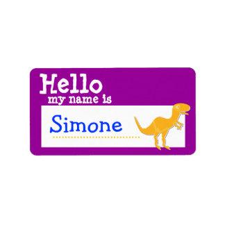 T-Rex anaranjado hola mi nombre es púrpura de la i Etiquetas De Dirección