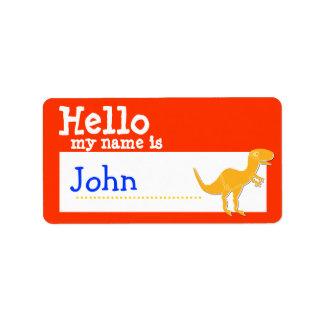 T-Rex anaranjado hola mi nombre es rojo de la insi Etiquetas De Dirección