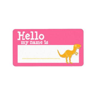 T-Rex anaranjado hola mi nombre es rosa de la insi Etiqueta De Dirección