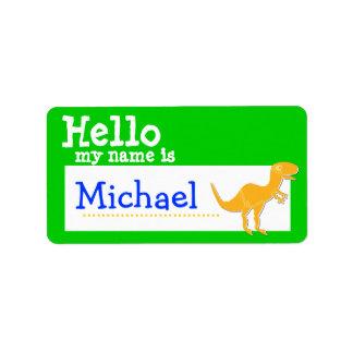 T-Rex anaranjado hola mi nombre es verde de la ins Etiqueta De Dirección