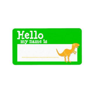 T-Rex anaranjado hola mi nombre es verde de la ins Etiquetas De Dirección