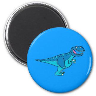T-rex azul imán redondo 5 cm
